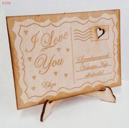 Szerelmes levél tartóval natúr bükkfa ajándék egyedi gravírozott szöveggel